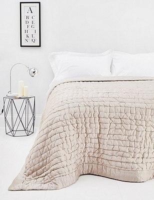 Cotton & Silk Blend Bedspread, MINK, catlanding