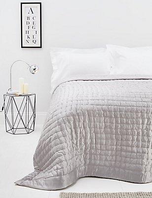 Cotton & Silk Blend Bedspread, SILVER, catlanding