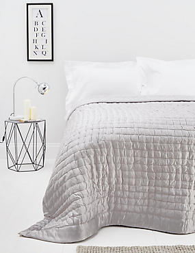 Cotton & Silk Blend Bedspread, SILVER, catlanding
