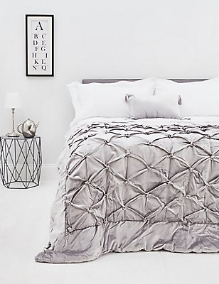 Velvet Pinch Bedspread, SILVER, catlanding