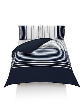 Bretton Striped Bedding Set, NAVY MIX, catlanding