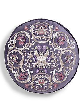 Round Floral Embroidered Cushion, , catlanding