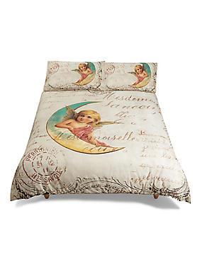 Cotton Rich Cherub Print Bedset, MULTI, catlanding