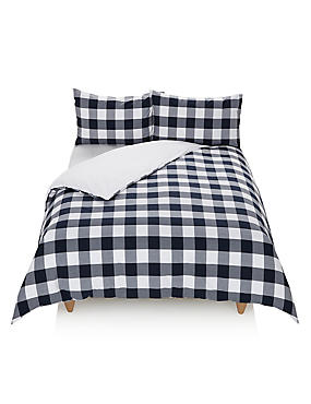 Gingham Checked Bedset, NAVY MIX, catlanding