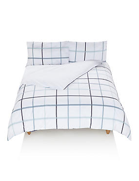 Herringbone Checked Bedding Set, BLUE MIX, catlanding