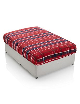 Brushed Cotton Tartan Checked Fitted Sheet, RED MIX, catlanding