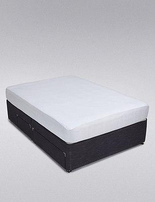 Jersey Cotton Waterproof Mattress Protector, WHITE, catlanding