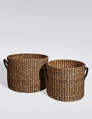 2 Water Hyacinth Storage Baskets, NATURAL, catlanding
