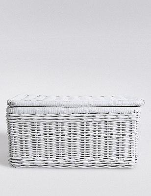 White Rattan Storage Box with Lid  , , catlanding