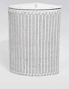 White Rattan Corner Basket, , catlanding