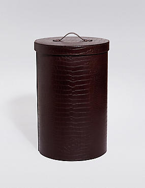 Faux Leather Laundry Bin, BROWN, catlanding