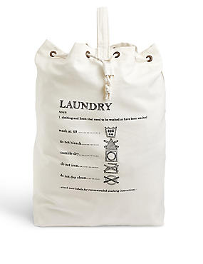 Casual Canvas Laundry Bag, CREAM MIX, catlanding