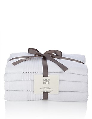 4 Piece Lightweight Egyptian Towel Bale, WHITE, catlanding