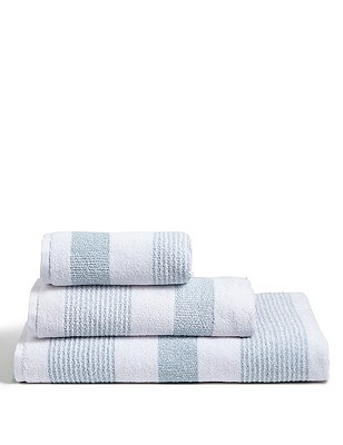 Hadley Striped Towels, DUCK EGG, catlanding