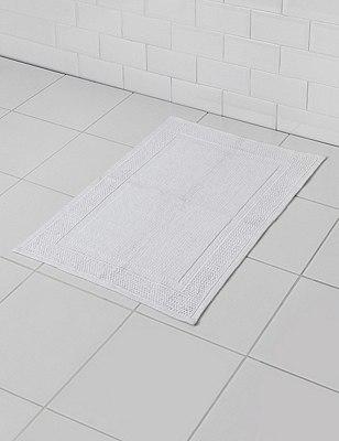Small Flat Bath Mat, WHITE, catlanding