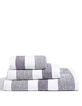 Hadley Striped Towels, CHARCOAL MIX, catlanding