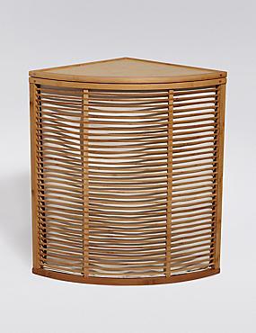 Panier à linge d'angle en bambou, , catlanding