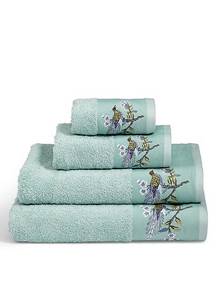 Ophelia Embroidered Towel, AIR FORCE BLUE, catlanding