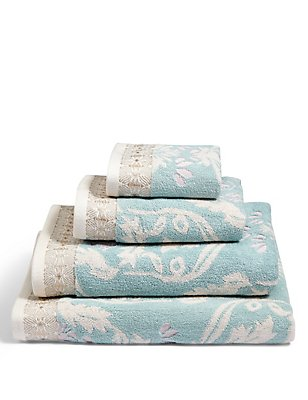 Hollywood Floral Towel, DUCK EGG, catlanding