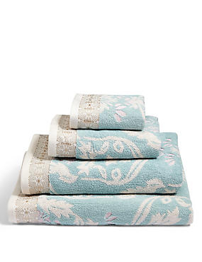 Hollywood Floral Towel, DUCK EGG, catlanding