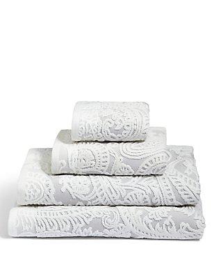 Paisley Embossed Cotton Towel, GREY MIX, catlanding