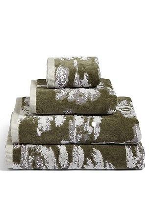 Tree Jacquard Towel, GREEN MIX, catlanding