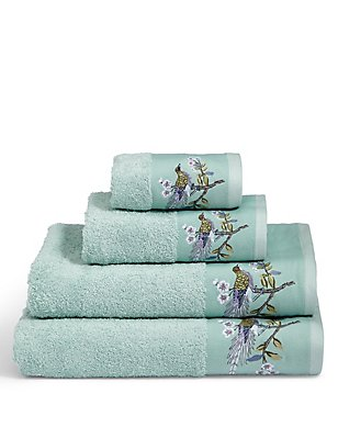 Ophelia Embroidered Towel, DUCK EGG, catlanding