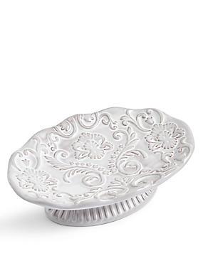 Fiorella Embossed Soap Dish, WHITE, catlanding