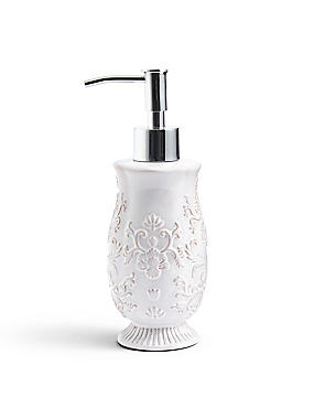 Fiorella Embossed Soap Dispenser, WHITE, catlanding