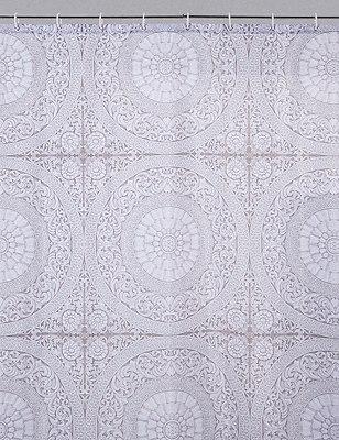 Mythology Tile Shower Curtain, , catlanding