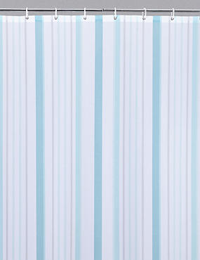 Thin Stripe Nautical Shower Curtain, DUCK EGG, catlanding