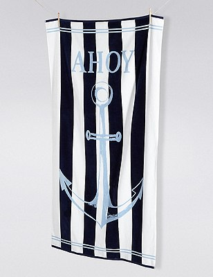 Ahoy Stripe Beach Towel, , catlanding