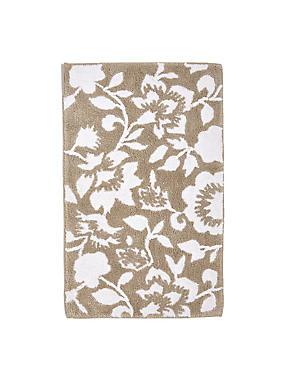 Eve– Tapis de bain et contour lavabo/WC à fleurs, NATUREL, catlanding