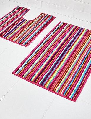 Reversible Striped Mat, FUCHSIA MIX, catlanding