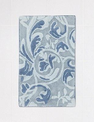 Embossed Swirl Bath Mat, SOFT BLUE, catlanding