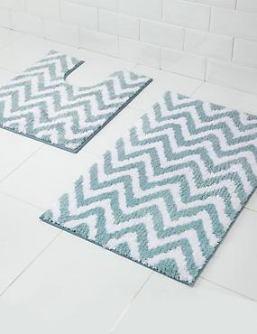 Tapis de bain et contour lavabo/WC à motif zigzag, séchage rapide, GRIS-BLEU, catlanding