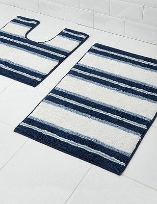 Spa Wide Striped Bath & Pedestal Mats, BLUE MIX, catlanding