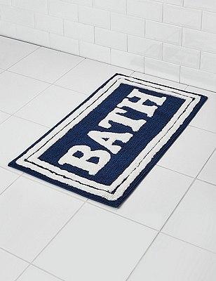 Bath Slogan Mat, BLUE/WHITE, catlanding