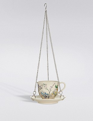 Small Hanging Teacup Bird Feeder, , catlanding