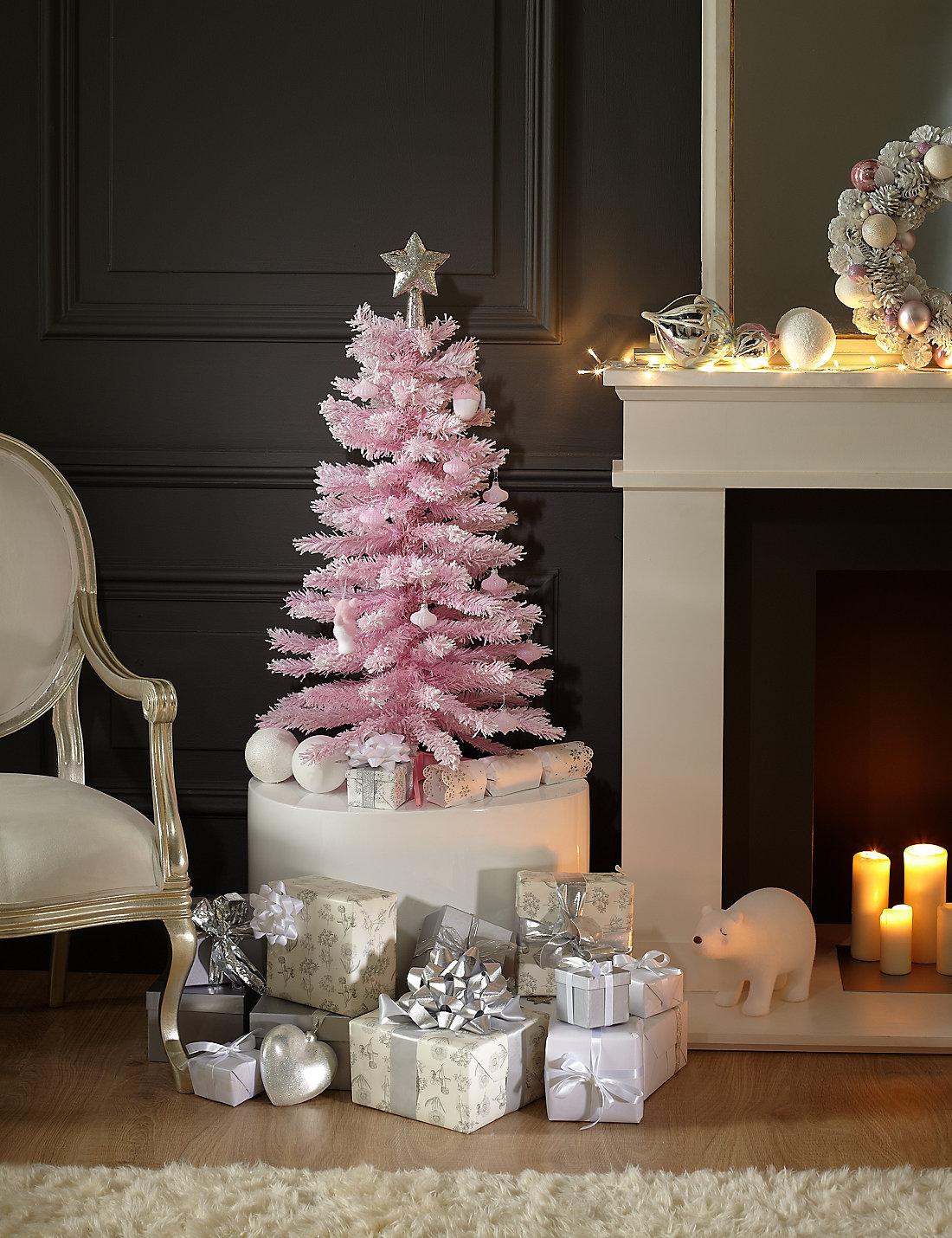 3ft snow effect pink christmas tree - 3 Ft Christmas Tree