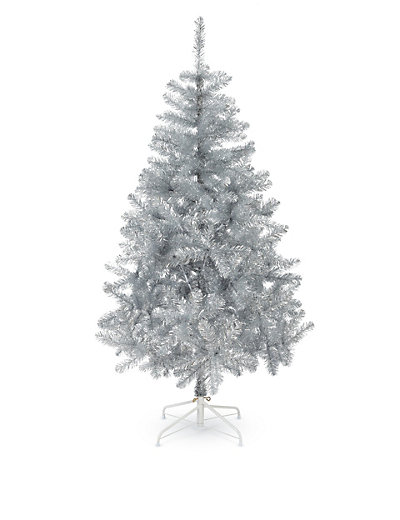 6ft silver tinsel christmas tree home mouse over to zoom - Silver Christmas Tree