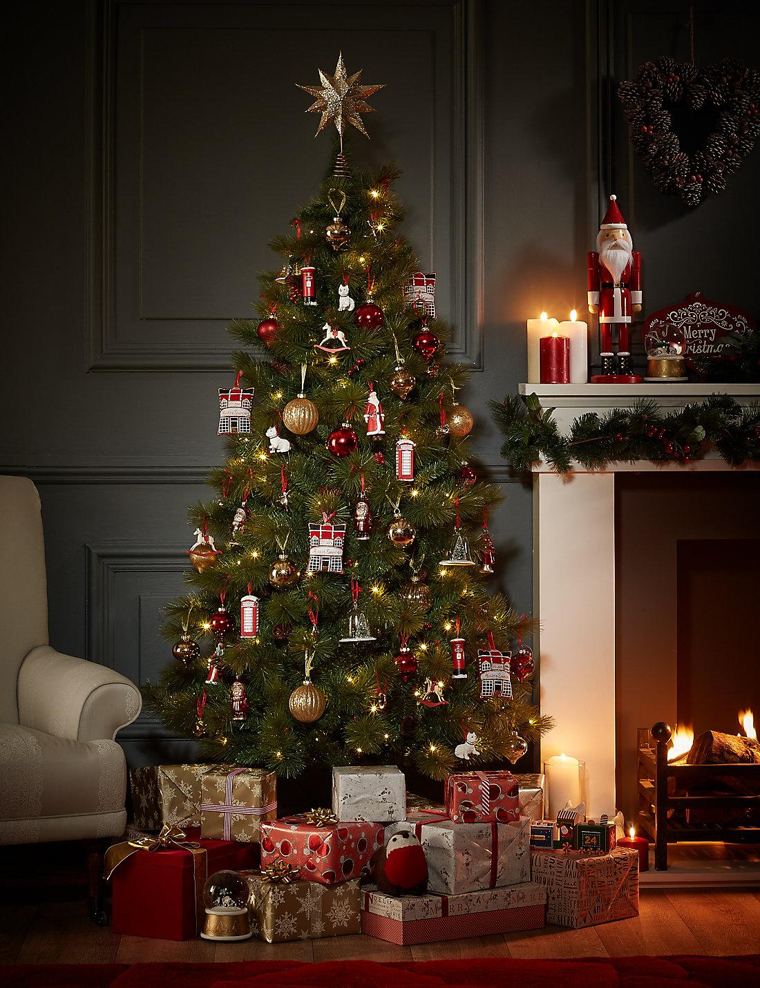 6Ft Pre Lit Mount Beacon Berry Pine Cone Christmas Tree M S - 6 Ft Christmas Tree
