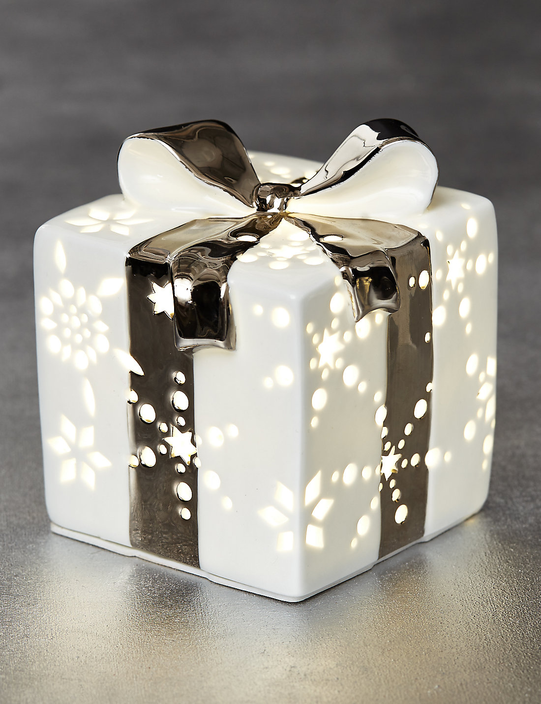 Lit white ceramic gift box ms lit white ceramic gift box negle Image collections