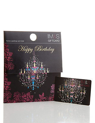 Happy Birthday Chandelier Gift Card Giftcard