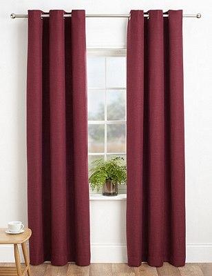 Bantry Weave Eyelet Curtains, BERRY, catlanding
