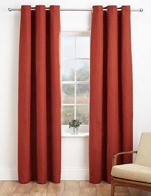 Bantry Weave Eyelet Curtains, TERRACOTTA, catlanding