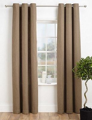 Bantry Weave Eyelet Curtains, MOCHA, catlanding