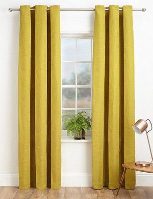 Bantry Weave Eyelet Curtains, OCHRE, catlanding