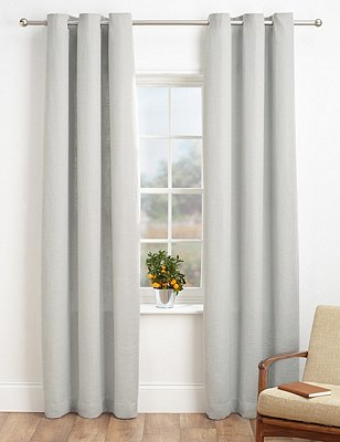 Bantry Weave Eyelet Curtains, GREY, catlanding