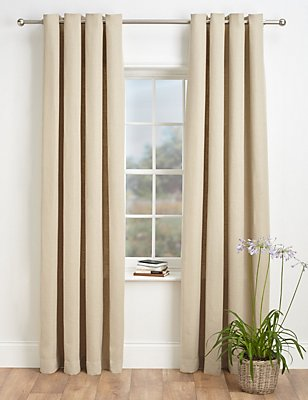 Bantry Weave Eyelet Curtains, NATURAL, catlanding